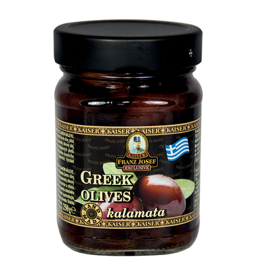 Greek black olives Kalamata in salty brine