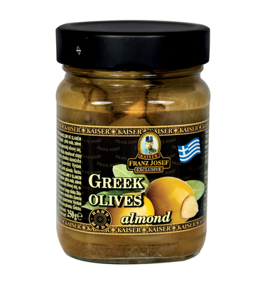 Greek green olives stuffed with almonds in brine