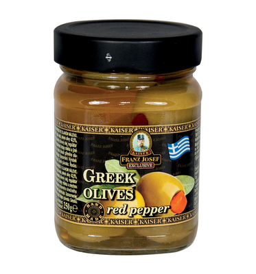 Greek green olives stuffed with pepper in brine