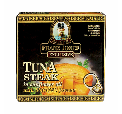Tuna steak in sunflower oil with smoked flavour 80g