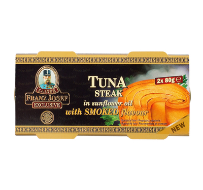 Tuna steak in sunflower oil with smoked flavour 2x80g